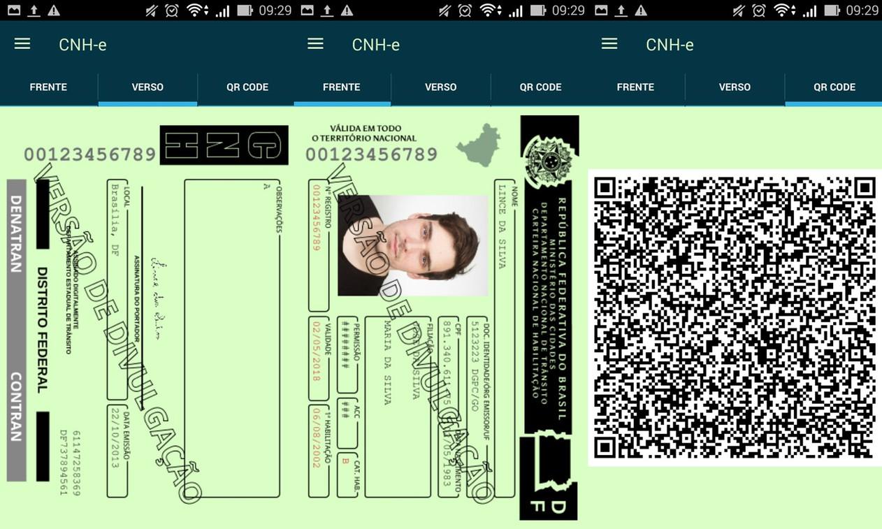 Versão divulgação da CNH digital com QR-Code (Foto: Reprodução)