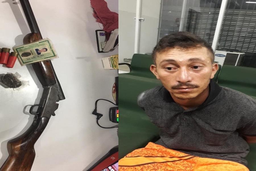 Homem é preso com arma de fogo após ameaçar mãe, esposa e sogra em Várzea Alegre- CE