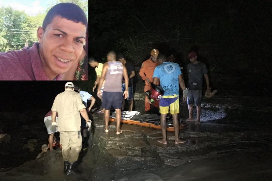 Veja com exclusividade o resgate do corpo do jovem que foi morto arrastado pela correnteza em Crato-CE ontem