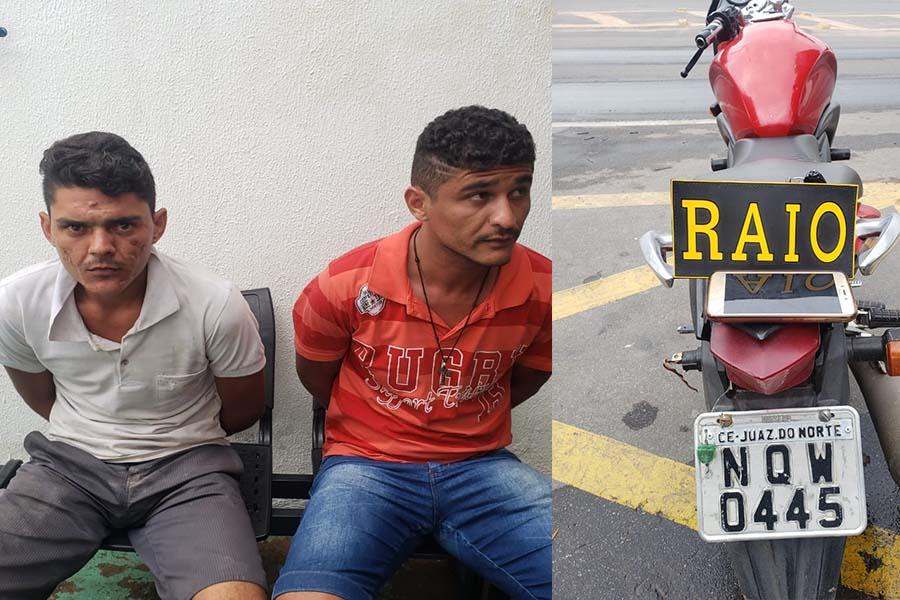 Os dois foram levados a delegacia de polícia de Juazeiro do Norte para adoção de procedimentos cabíveis e onde ficarão à disposição da justiça. Foto: polícia
