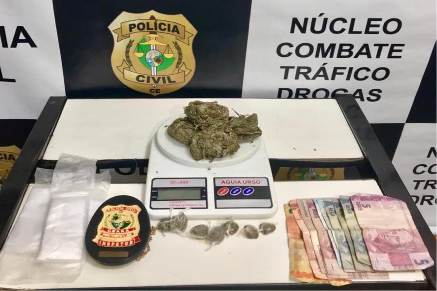 Homem é preso e menor de idade é apreendido após serem encontrados com  droga  pela Polícia Civil  em Juazeiro do Norte-CE