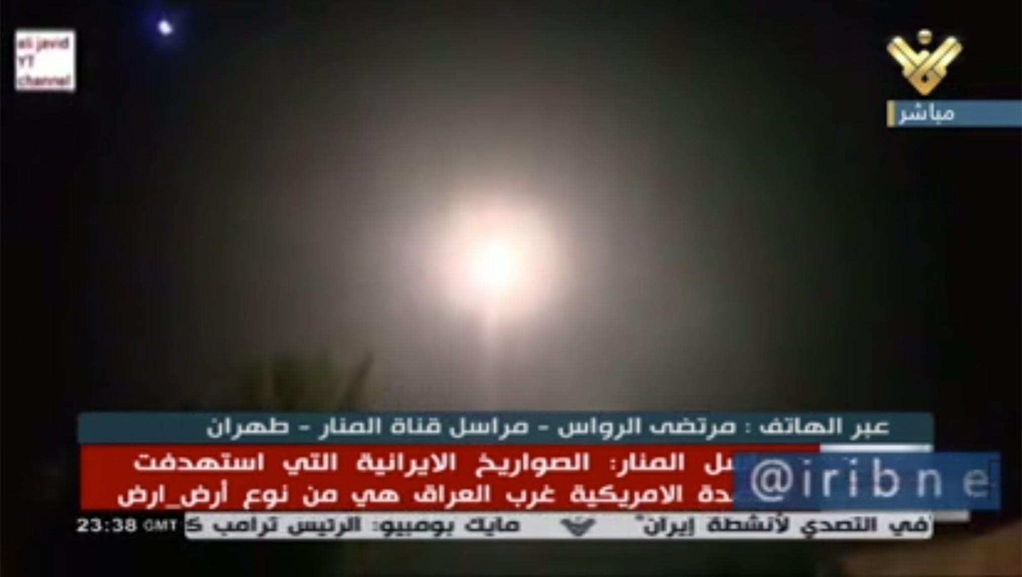 Emissora iraniana noticia lançamento de mísseis contra alvos no Iraque — Foto: Iribnews/Reprodução