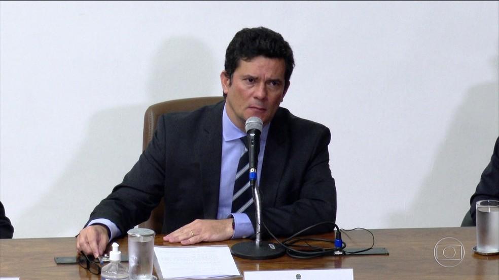 O ex-ministro da Justiça Sergio Moro, em 24 de abril, quando anunciou a demissão do cargo — Foto: Reprodução/TV Globo