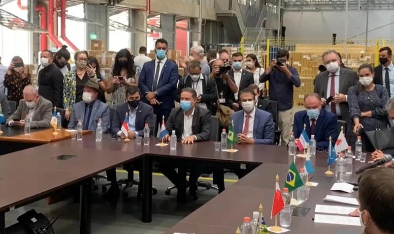 Evento em São Paulo que marca distribuição da Coronavac aos estados reúne governadores — Foto: Reprodução