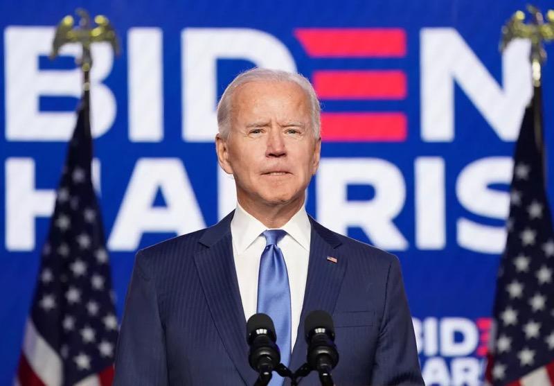 Candidato democrata, Joe Biden, em pronunciamento neste sábado no Delaware, EUA — Foto: Kevin Lamarque/Reuters