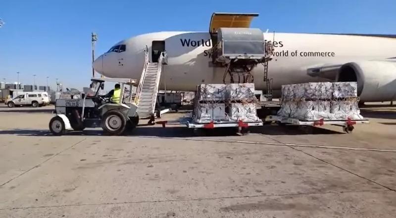 Avião com 1 milhão de doses da vacina contra Covid-19 da Pfizer no Aeroporto de Viracopos, em Campinas (SP), no dia 25 de julho de 2021 — Foto: Polícia Federal